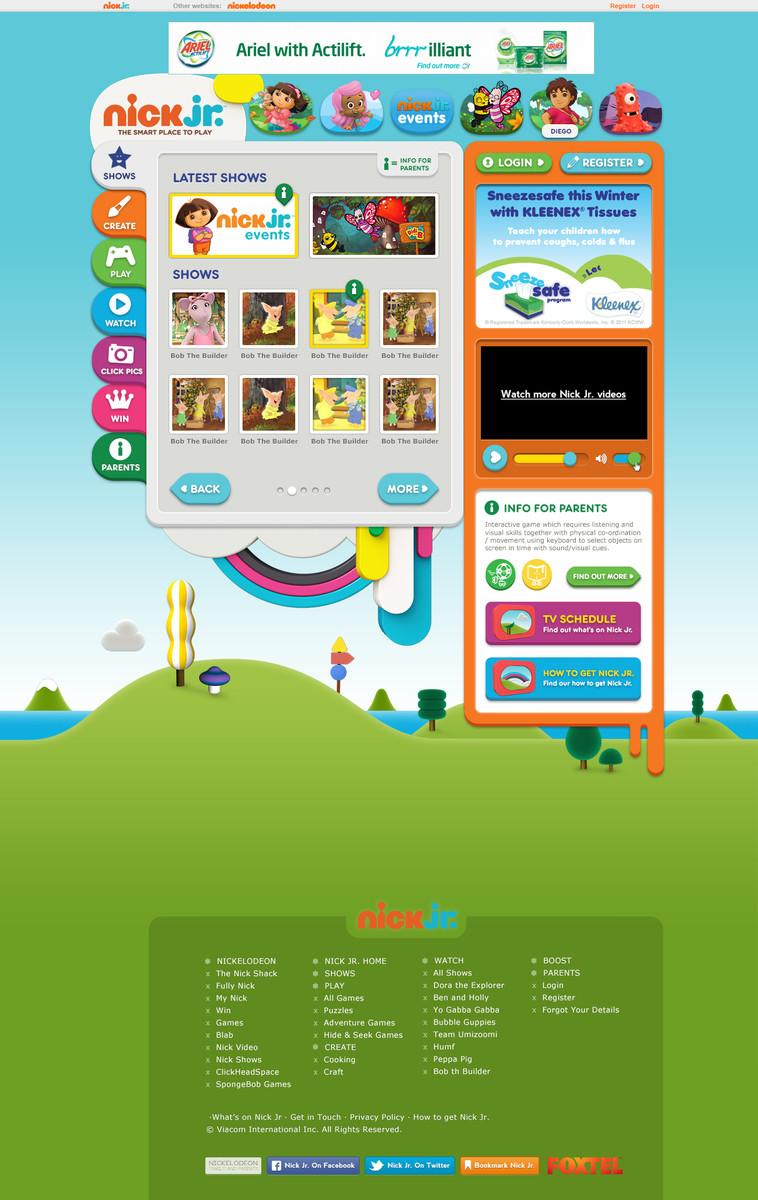 nick jr website redesign - bec moss portfolio